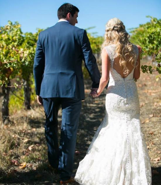 Bride & Groom in Vineyard Wedding
